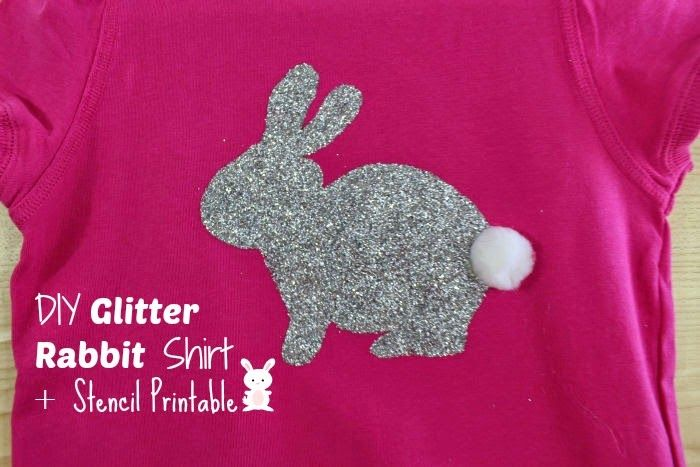First Time Mom and Losing It: DIY Glitter Rabbit and Pom Pom Shirt + Stencil Printable