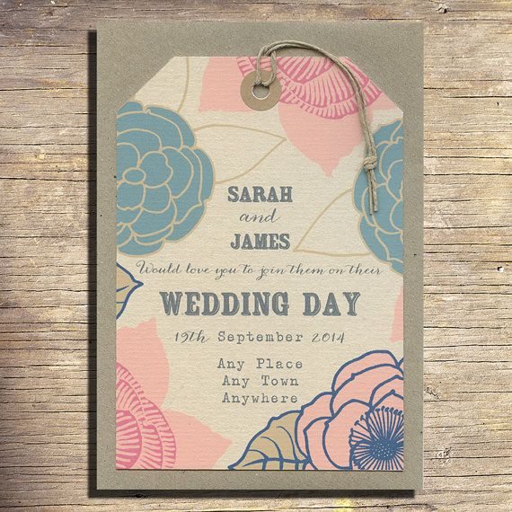 25 Vintage Flowers Wedding Invitation Luggage by papertreemedia, €62.50