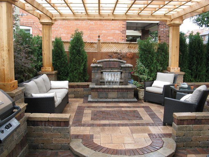 Umbriano Patio With Copthorne Accents And Water Feature