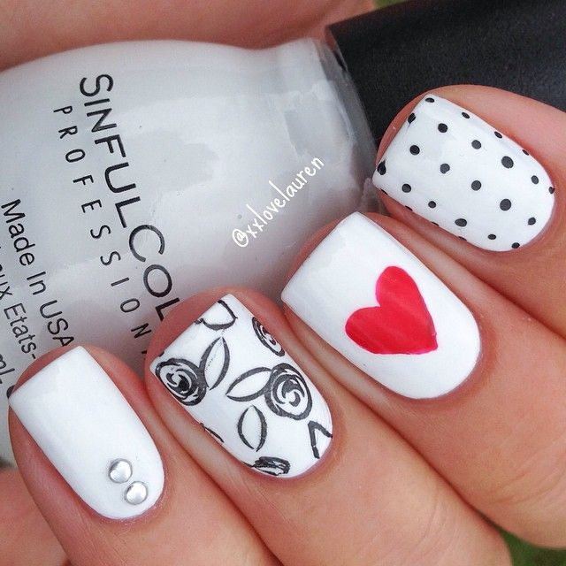 Monochromatic mix and match #manicure with red heart accent ===== Check out my Etsy store for some nail art supplies https://www.etsy.com/shop/LaPalomaBoutique