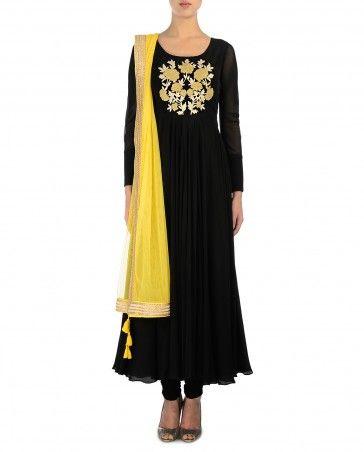 Black Anarkali Suit with Yellow Dupatta
