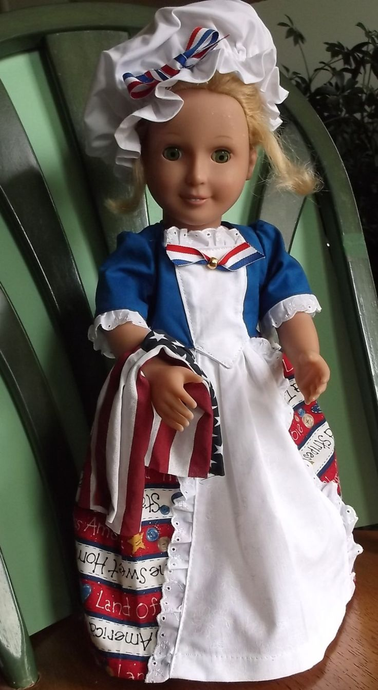 "18"" Doll -America The Land of the Free, Dress, Pantaloons and Mop Hat, folded flag by GrannySallyAnns on Etsy"