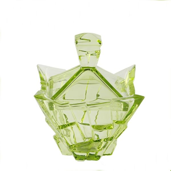 Special shape green and blue glass bowl with lid wholesale
