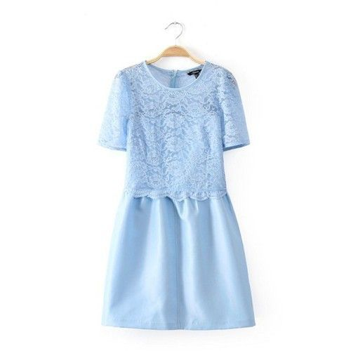 30AUD+shipping LITTLE BLUE DRESS for Datings / Colour: Pastel blue/ Size: XS, S, M/ Material & Style: floral lace, crochet, polyester & lining