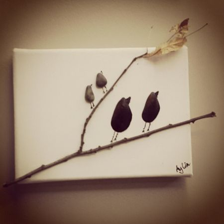 Pebble Art- Birds on a tree- Ağaç üzerinde kuşlar
