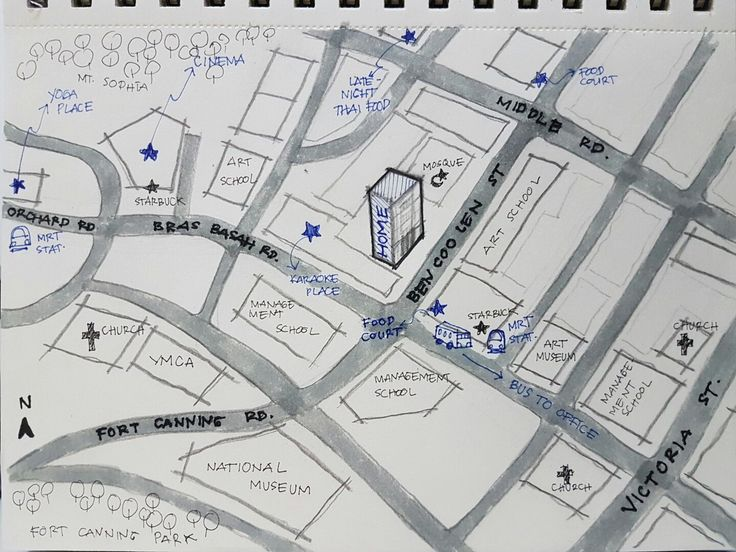 Week1 : Hi, I am Shanti, I'm from Indonesia, but currently live and work in Singapore. This is the mental map of my neighbourhood .