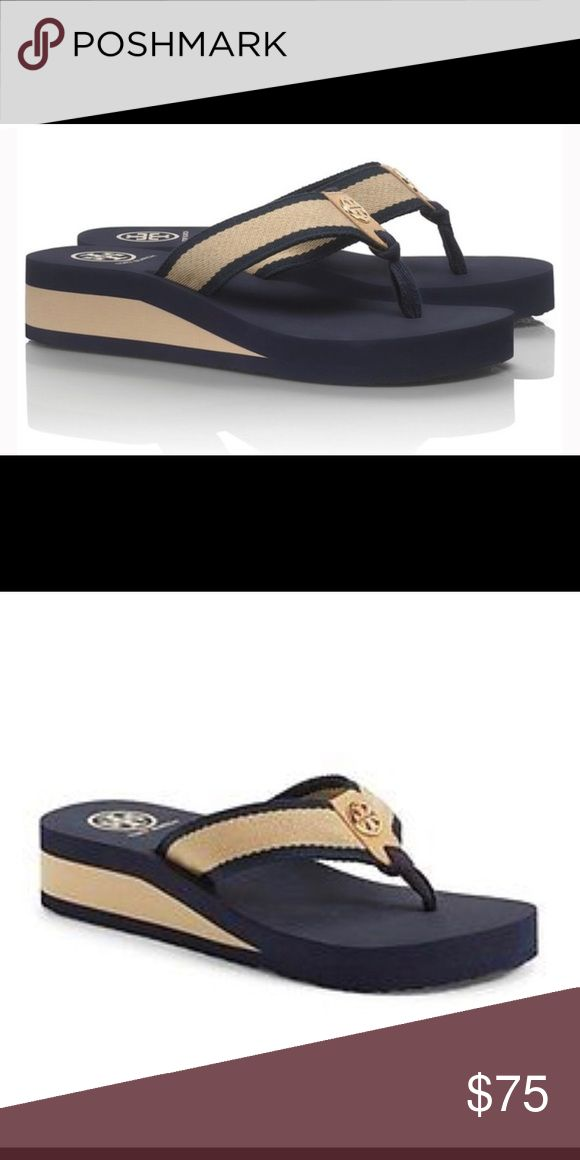 Tory Burch Women's Blue 'frankie' Wedge Sandal