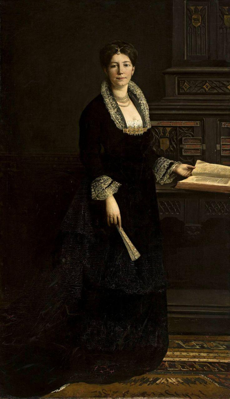 """""""The Portrait of a Lady"""" (1879) by Tadeusz Ajdukiewicz (Polish,1852 - 1916),  oil on canvas, 201,3 x 117, National Museum, Warsaw."""