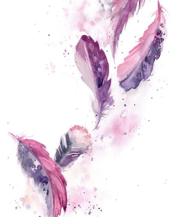 Feathers Art Print Set Watercolor Fine Art Print Set Set Of 3