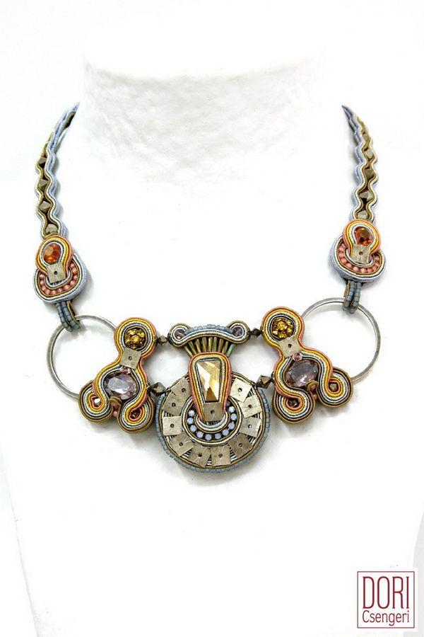 RTM-N692, rtmn692, pastel colors, pastel colors necklace, hand embroidered necklace, handmade necklace, embroidered necklace,