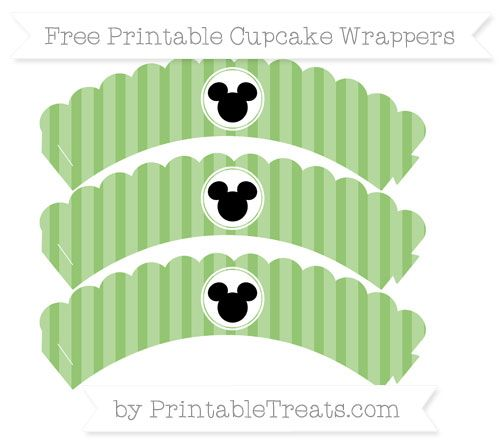 Free Pistachio Green Striped  Mickey Mouse Scalloped Cupcake Wrappers