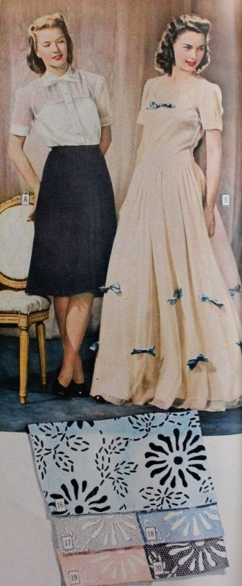 1944 bridesmaid dress made of flocked net in yellow, blue. pink, grey. 1944