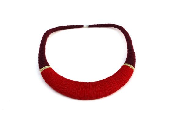 Rood en goud verklaring ketting rode rode van MiloNecklaces op Etsy