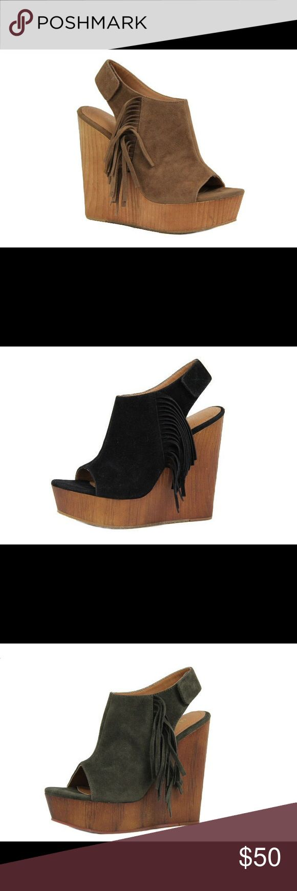 Ladies wedge sandal with side fringe. Camel. NIB Very stylish and comfy ladies wedge sandal with side fringe. Around 5 inches heels. Brand new in box, available also in olive and black colors and listed in my closet. Man made suede. NO TRADES shoeroom21 boutique Shoes Wedges