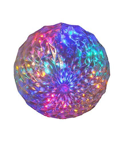 """Multi LED Lighted Hanging Christmas Crystal Sphere Ball Outdoor Decoration 6"""" by Penn. $14.99. Festive Multi-Color LED Lighted Sphere Item #52-796-066 Product Features: Number of bulbs inside sphere: 20 Bulb color: multi-color Multi-color consists of: red, orange, yellow, green and blue bulbs Bulb size: wide angle UL listed for indoor/outdoor use 120 volts, 60 hertz, .02 amps, 2.4 watts 24 inch white lead cord contains 1 plug with end connector allowing you to stack multiple..."""