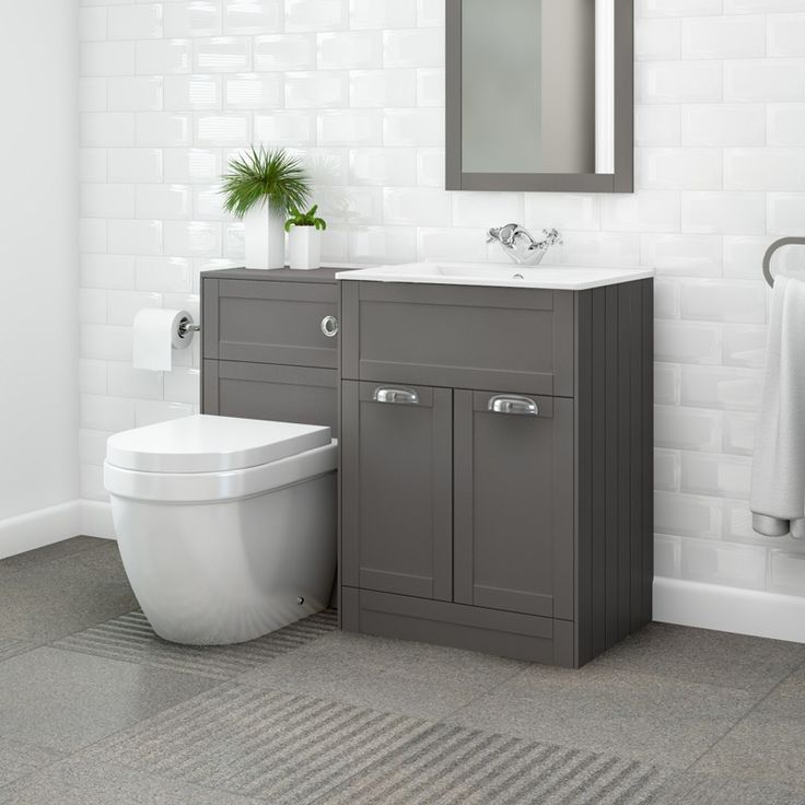 Nottingham 600 Grey Combination Unit with Aurora Back to Wall Toilet