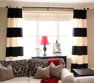 The Creative Imperative: Black And White Horizontal Striped Curtains {made  From Tablecloths}