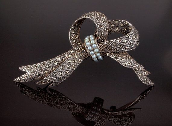 Vintage Bow Pin Brooch Silver with Marcasite by BelmontandBellamy