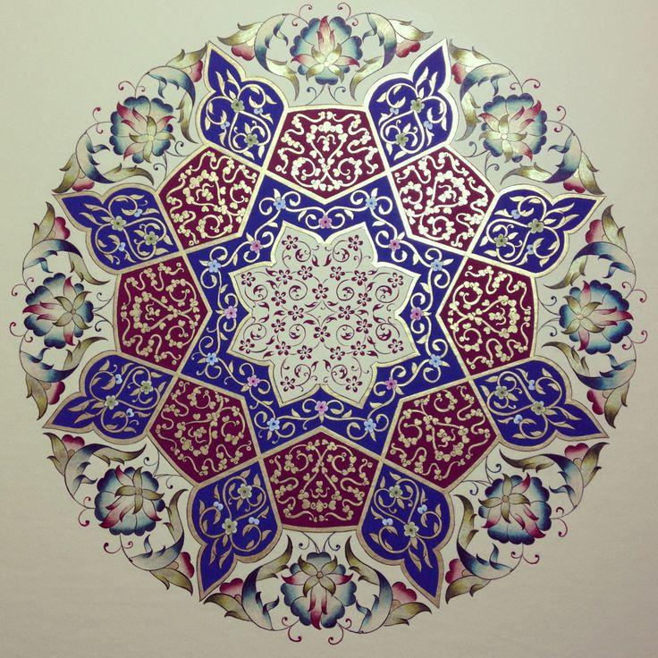 Beautifully handpainted medallion of Turkish design ~ artist Dilara Yarci  #art