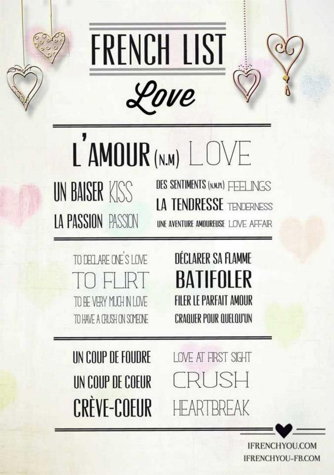 French List Love Vocabulary