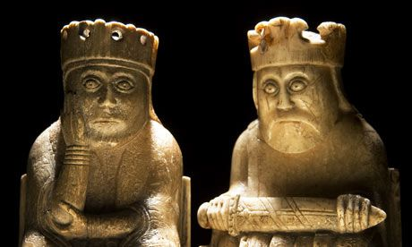 A queen and a king form part of the medieval Lewis chess sets. Photograph: Murdo MacLeod