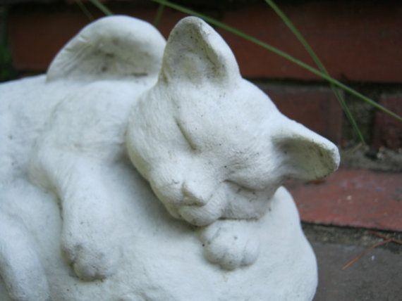Chat ange Statue, Mémorial de chat, chat béton Statues, ciment Cat Figure, Pet Memorial pierres tombales, Cat anges, Statues de chats