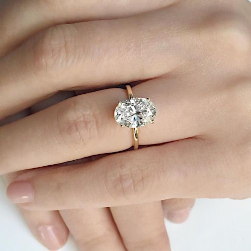 Vale Jewelry custom 3 carat oval diamond engagement ring in 18K yellow gold