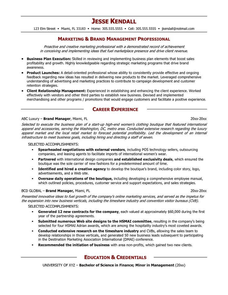 senior logistic management resume brand manager resume