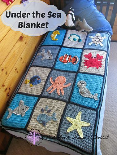Free This is the main blanket pattern for the Under The Sea Blanket. It does not include the appliques attached. These are available individually or as a set.
