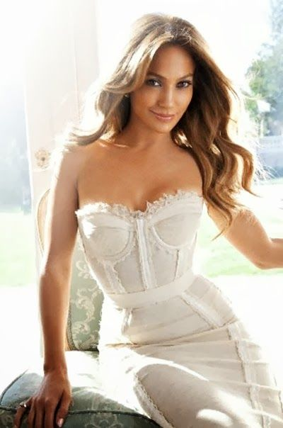 Beautiful white corset top on JLo