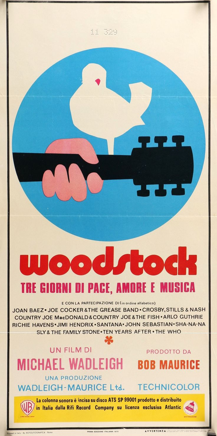 """Film: Woodstock (1970) Year poster printed: 1970 Country: Italy Size: 13.25"""" x 27.5"""" Artist: Arnold Skolnick This is a very rare, vintage Italian Locandina movie poster from 1970 for the documentary W"""