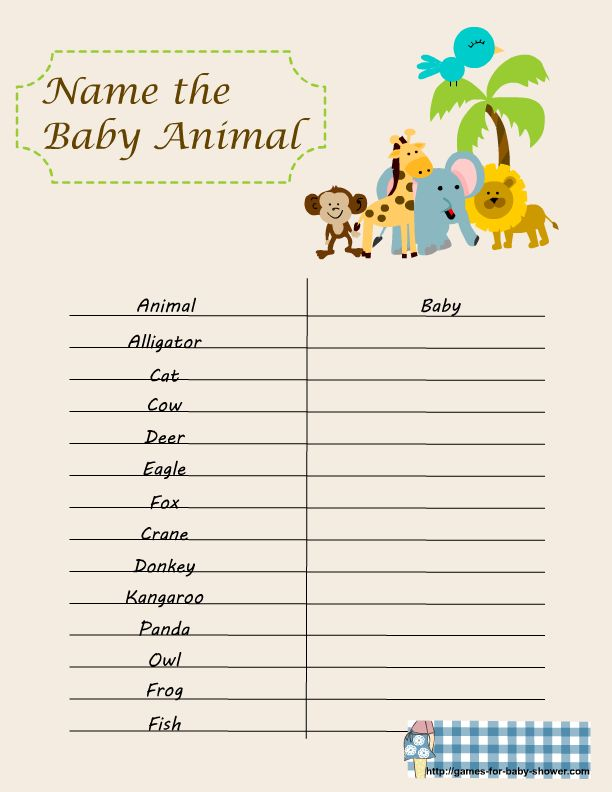 Baby Shower Memory Game Template Part - 36: Baby Shower Games | Free Printable Name The Baby Animal Game For Baby Shower