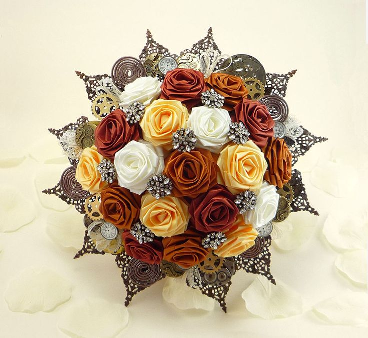 Steampunk Wedding Bouquets | Steampunk Noir Origami Wedding Bridal Bouquet - Rustic Victorian Time ...