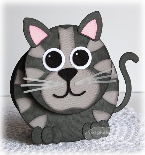 handmade card: Bobble-head Kitty by deconstructingjen ... punch art ... shaped card ... cat in grays with pink inside ears ... cute!