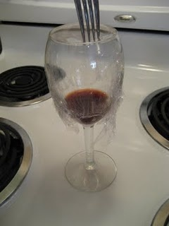 fruit fly trap - red wine vinegar in a glass. put plastic over and poke small holes in plastic.