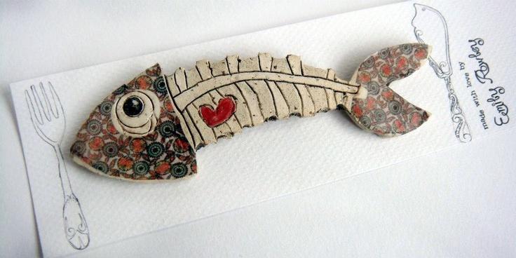 Fish Bone Brooch by Emily Rowley