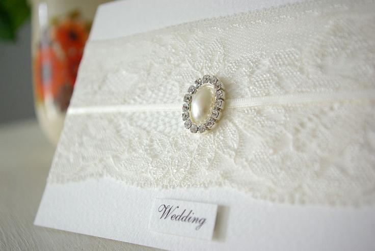 White on White Vintage Wedding Invitation