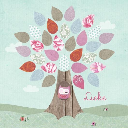Geboortekaartje Lieke - uil, boom, blaadjes, bloemetjes. www.hetuilennestje.nl