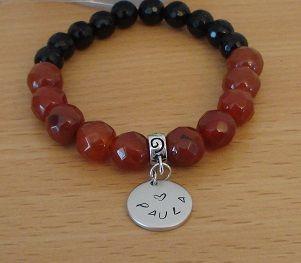 carnelian stretch bracelet - Onyx stretch bracelet - personalized bracelet - Monogram bracelet - Initialized jewelry