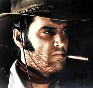 With its gritty look, violent antihero, and cynical point of view, Charro! was obviously patterned after the grim Italian westerns of the 1960s. Elvis' character, Jess Wade, is costumed similarly to Clint Eastwood's notorious 'Man with No Name' from Sergio Leone's Italian westerns.