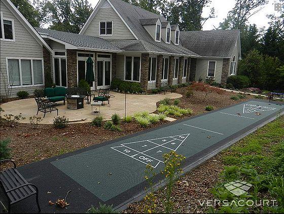 Backyard and commercial shuffleboard courts.