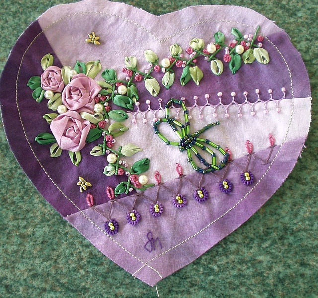 ribbon embroidered heart