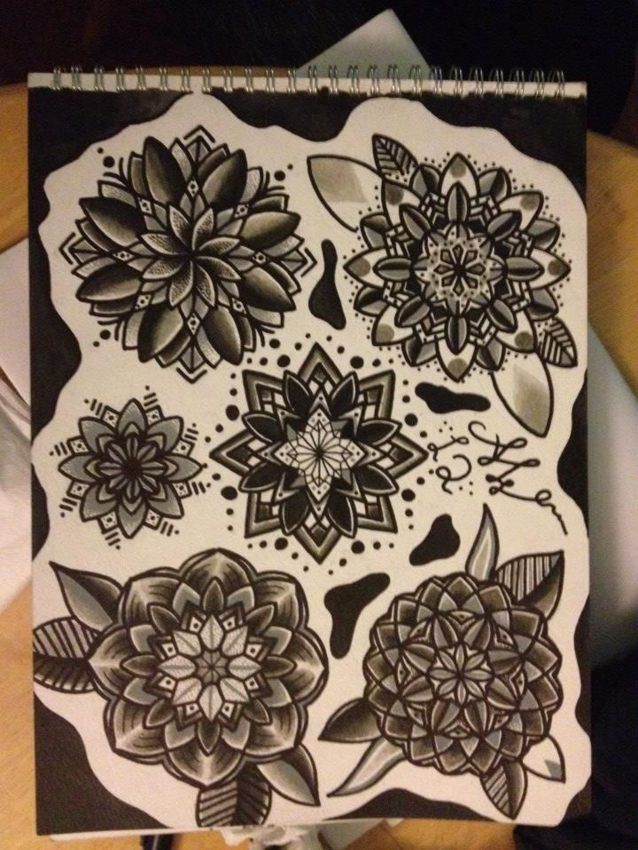 Geometric flower tattoo designs