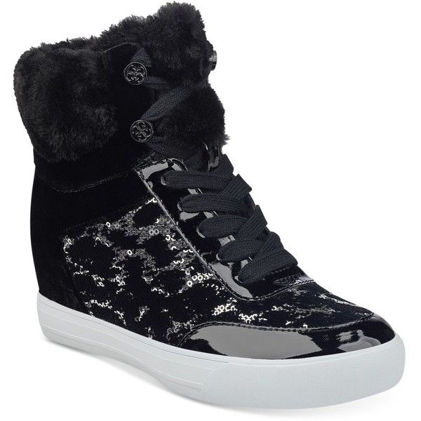 Guess Women's Daylana Wedge Sneakers ($44) ❤ liked on Polyvore featuring shoes, sneakers, black velvet, wedge high tops, high-top sneakers, hi top wedge sneakers, high heel wedge sneakers and guess sneaker