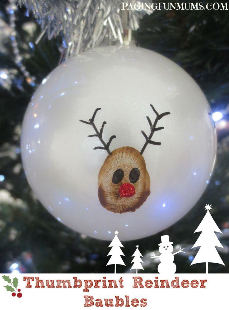 Thumbprint Reindeer Baubles