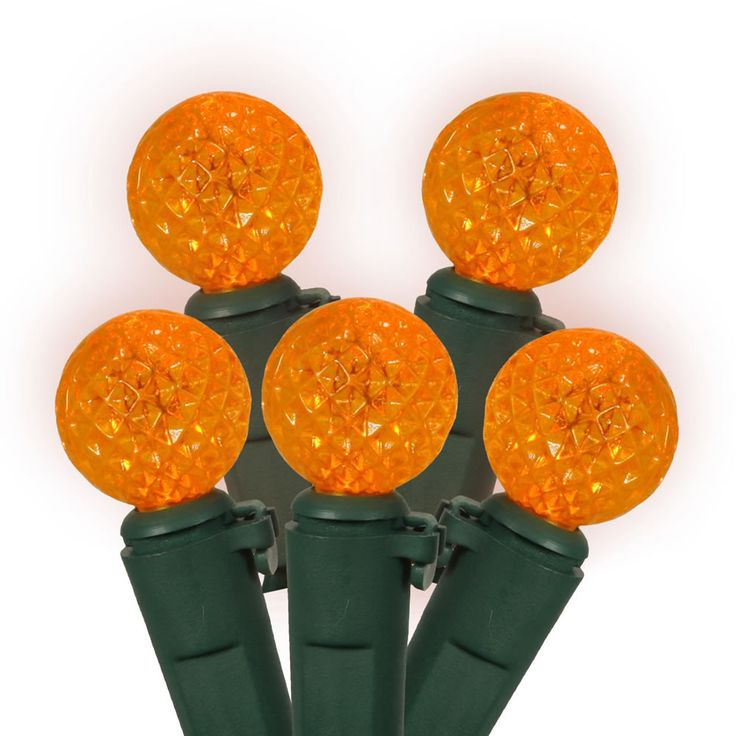 50 Orange LED Lights / Green Wire G12 Berry 16Ft. Christmas Set