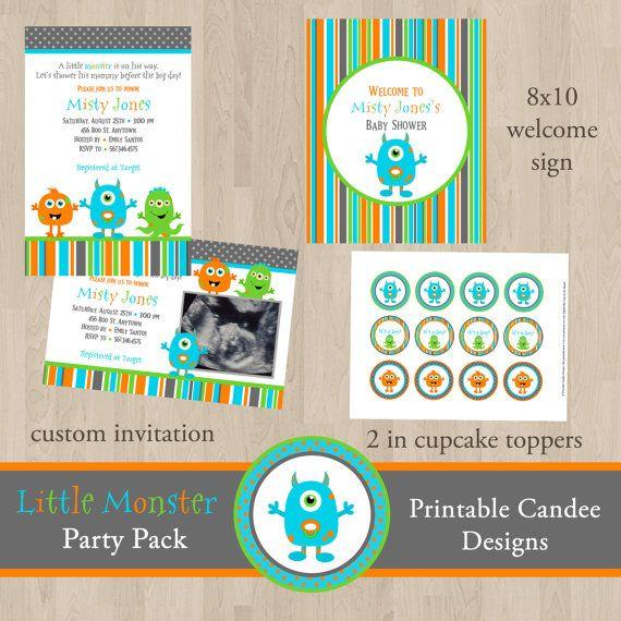 @Sadie Kistner Little Monster Baby Shower Invitation  Custom by printablecandee, $10.00