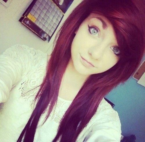dark red scene hair
