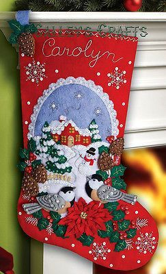 "Bucilla Chickadees ~ 18"" Felt Christmas Stocking Kit #86326 Birds, Snow New 2012"