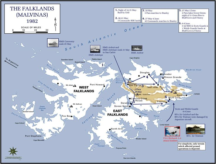The Falklands War 1982 Map - falkland islands • mappery